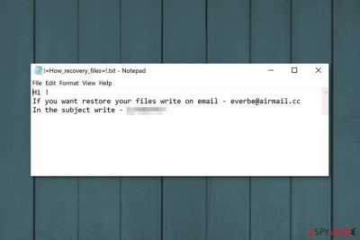 Everbe ransomware delivers ransom note