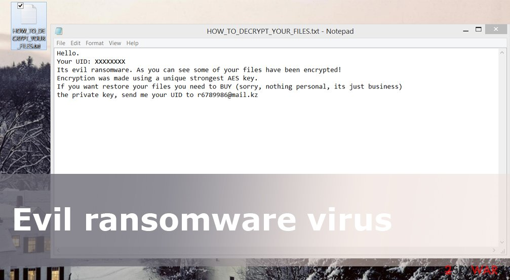 Ransom note by Evil ransomware virus
