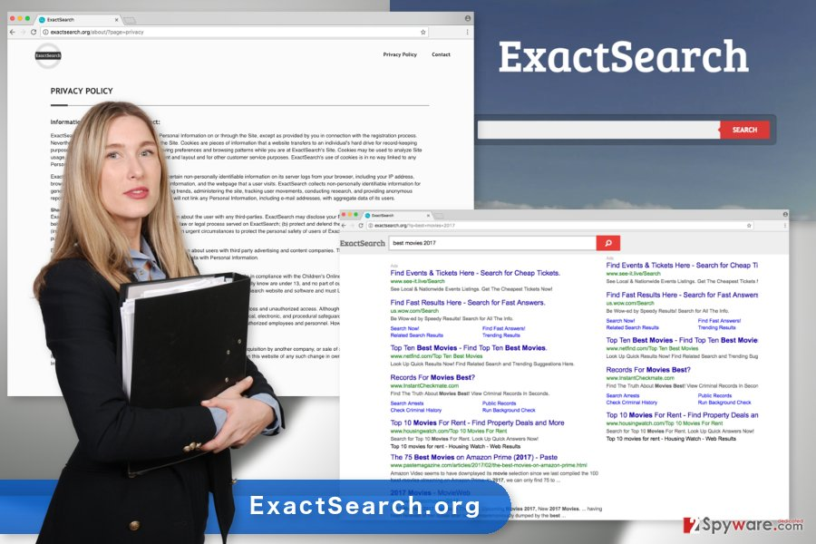 The illustration of the ExactSearch.org virus