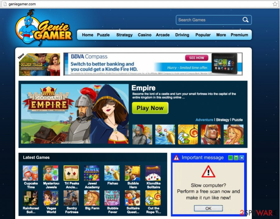 A screenshot of the GenieGamer website and the ads
