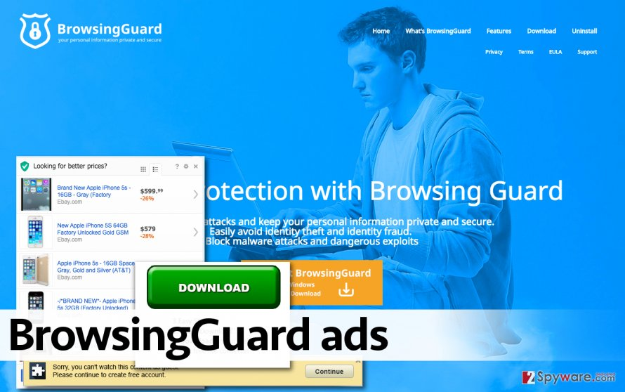 BrowsingGuard adware displays ads
