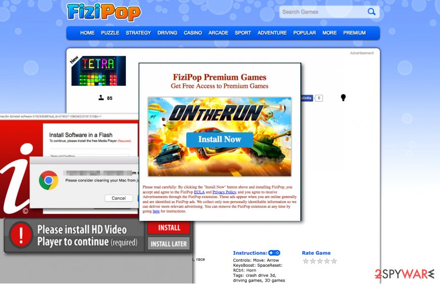 Ads by FiziPop adware