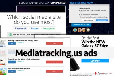 Examples of pop-up Mediatracking.us ads