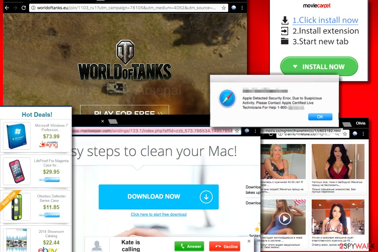 Examples of Pop-up ads