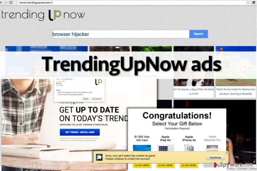 TrendingUpNow adware affects Google Chrome
