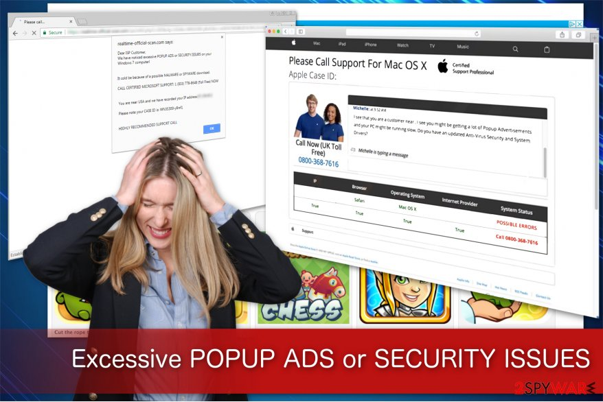 """Excessive POPUP ADS Or SECURITY ISSUES"" virus displays a scam message"