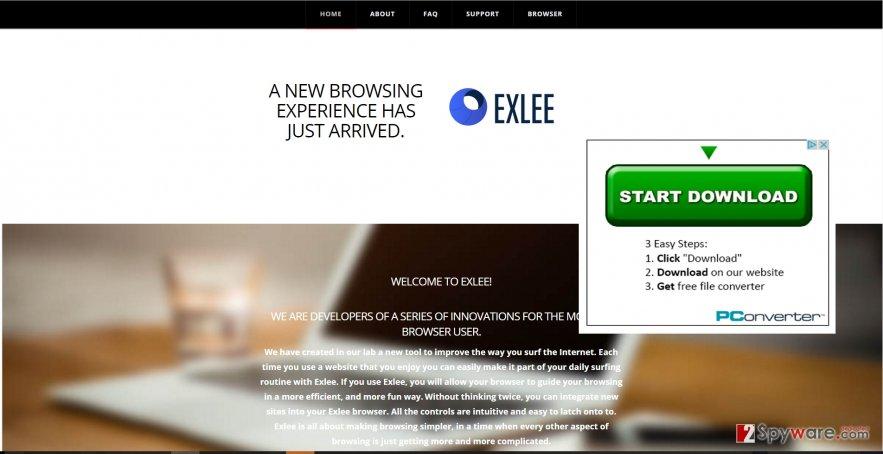 The screenshot showing Exlee.com virus