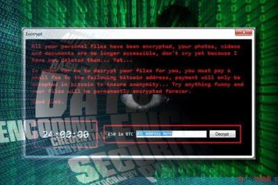 Exocrypt ransomware virus locks data
