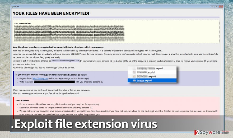 Screenshot of .exploit file extension virus
