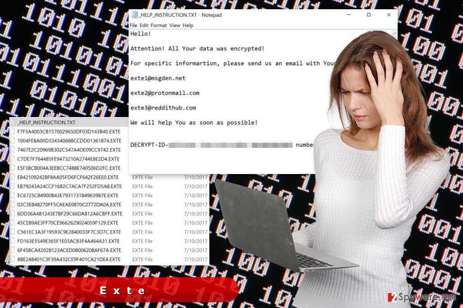 The example of Exte ransomware virus