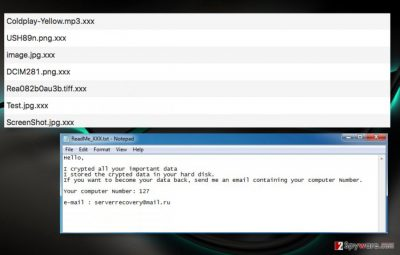 Extractor ransomware adds .xxx file extensions to corrupted files