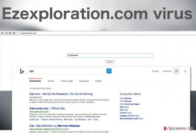A screenshot of the Ezexploration.com virus website and search results