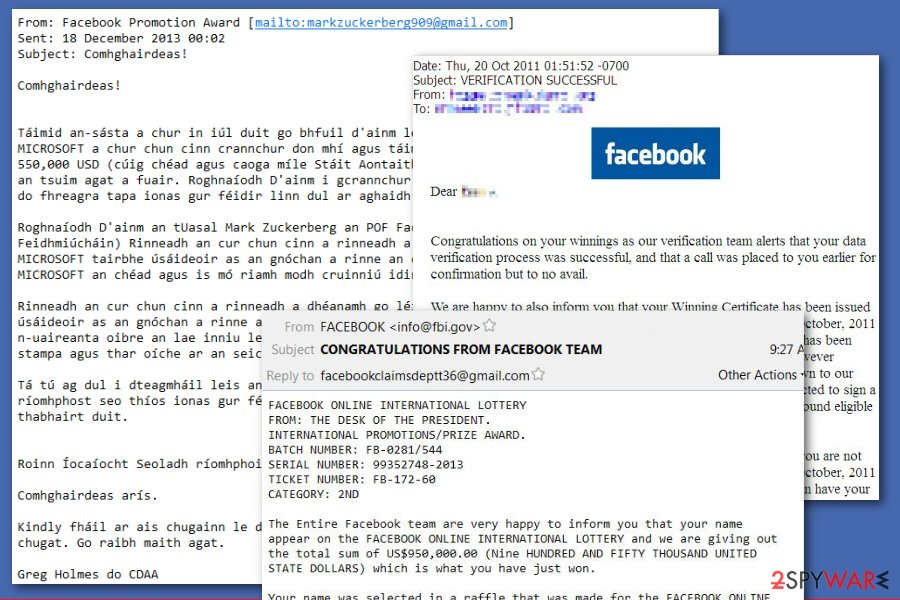 Facebook lottery scam emails