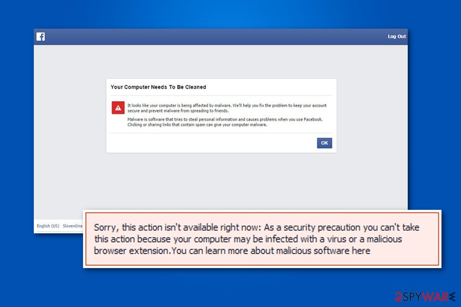 Facebook Malware warning image