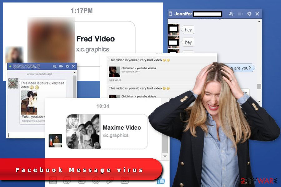The examples of Facebook Messenger virus