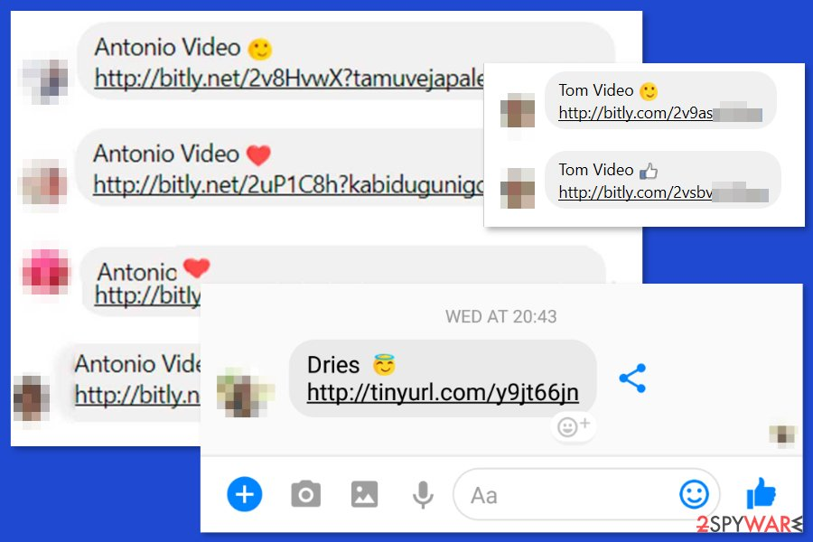 The examples of Facebook video virus