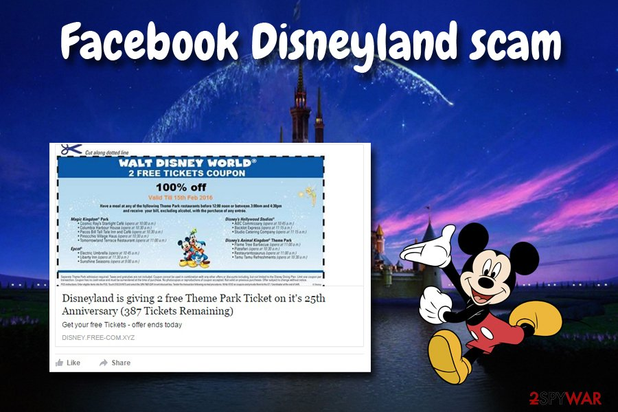 Facebook virus Disneyland scam