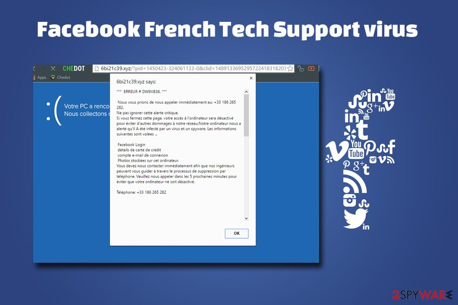 Facebook virus - French tech support scam