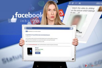 The image displaying Your profile has been selected by Facebook virus
