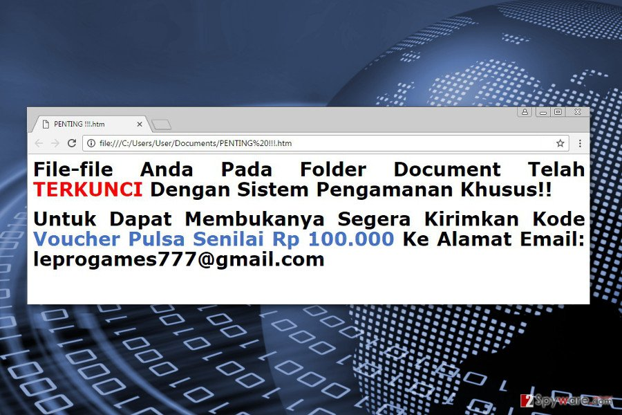 Ransom note by Faizal ransomware