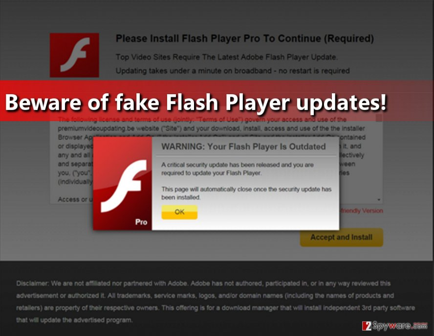 Example of a Fake Flash Player update