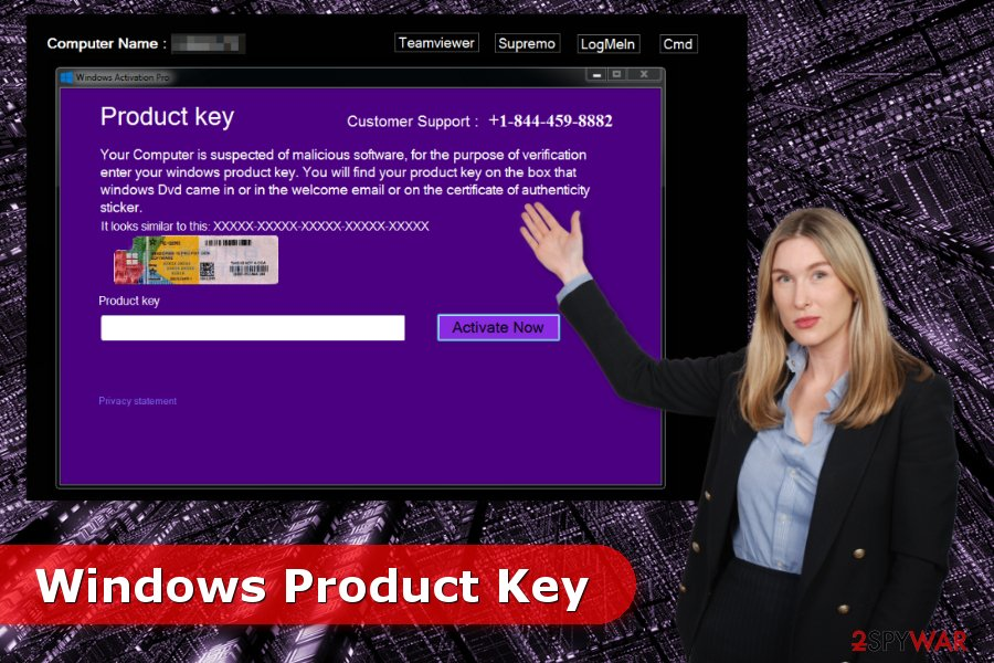 The image of Windows Product Key virus