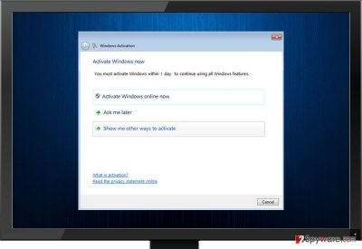 Fake Windows Activation virus screenshot