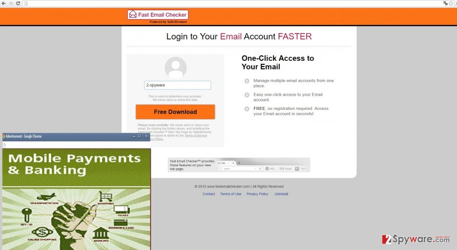 The image displaying Fast Email Checker ads