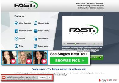 FastoPlayer adware showing random FastoPlayer ads