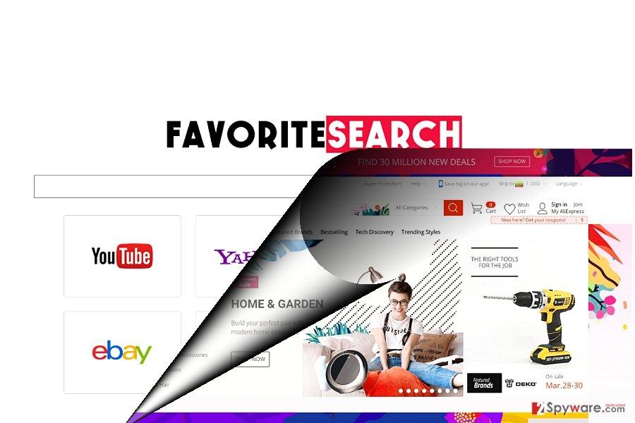 The screenshot of Favouritesearch.org