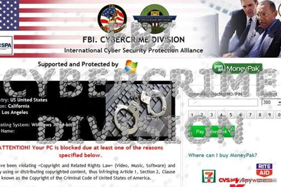 The image displaying FBI Crime Division fake alert