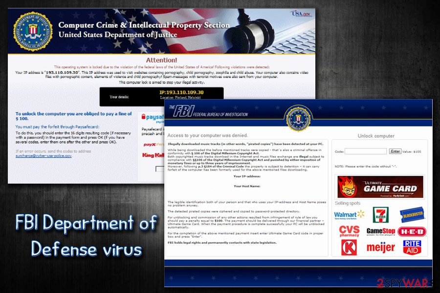 FBI department of Defense virus