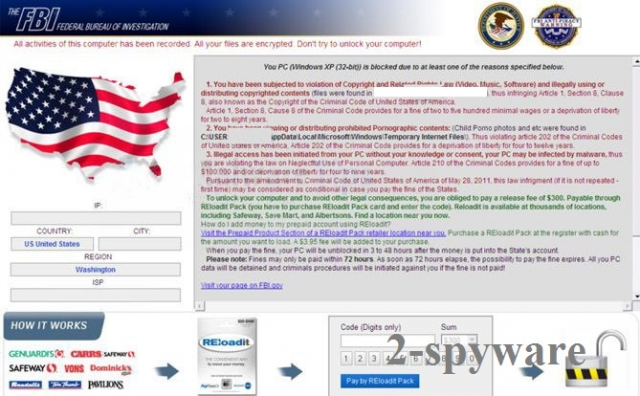 FBI System Failure virus snapshot