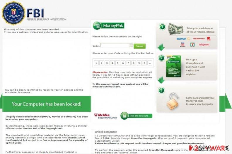 FBI virus (Green dot ransomware)
