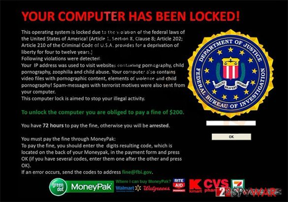 Your computer has been locked ransomware virus