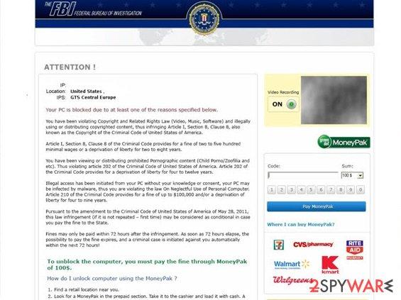 The first version of FBI virus