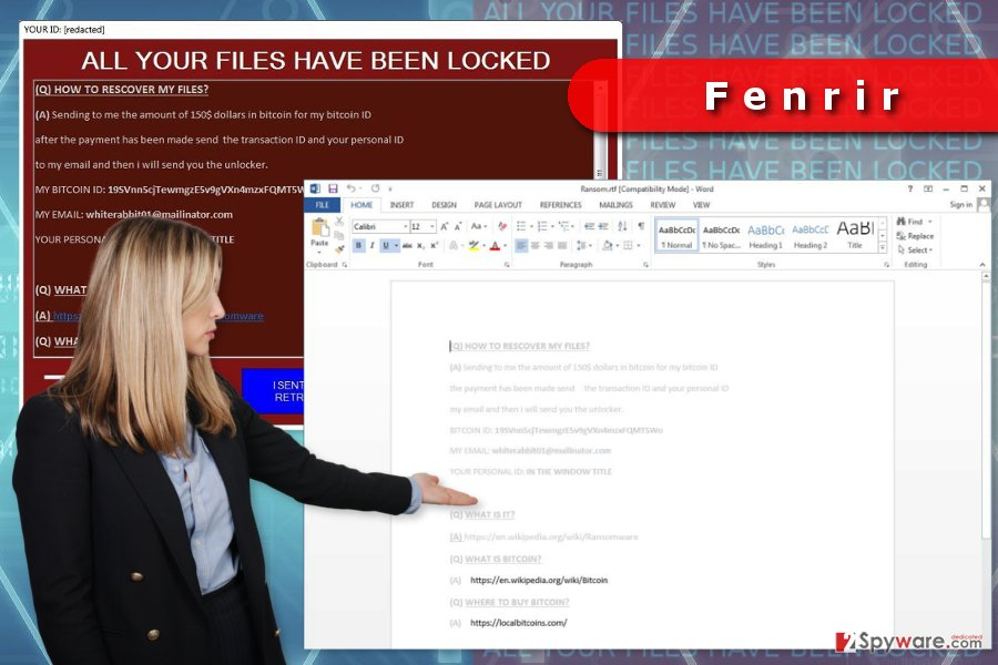 Ransom note provided by Fenrir ransomware virus
