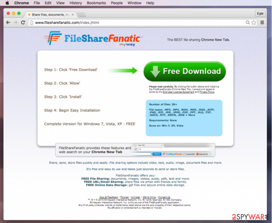 FileShareFanatic Toolbar redirect virus website