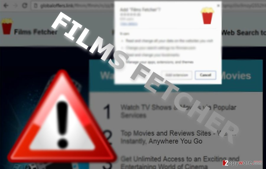 The image displaying Films Fetcher virus