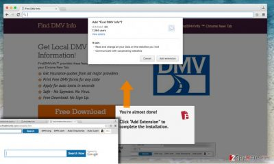 Official website of Find DMV Info Toolbar virus