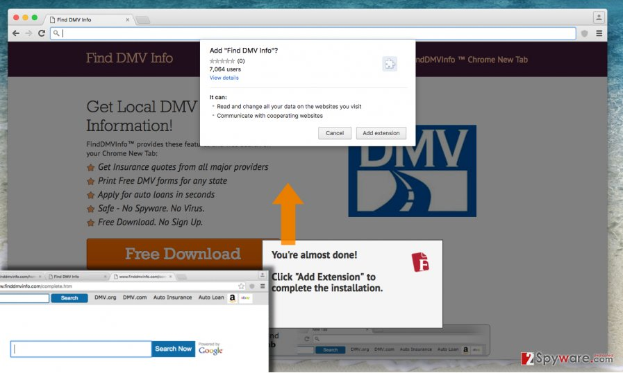 Screenshot of Find DMV Info Toolbar browser hijacker