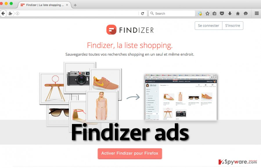 Screenshot of Findizer adware