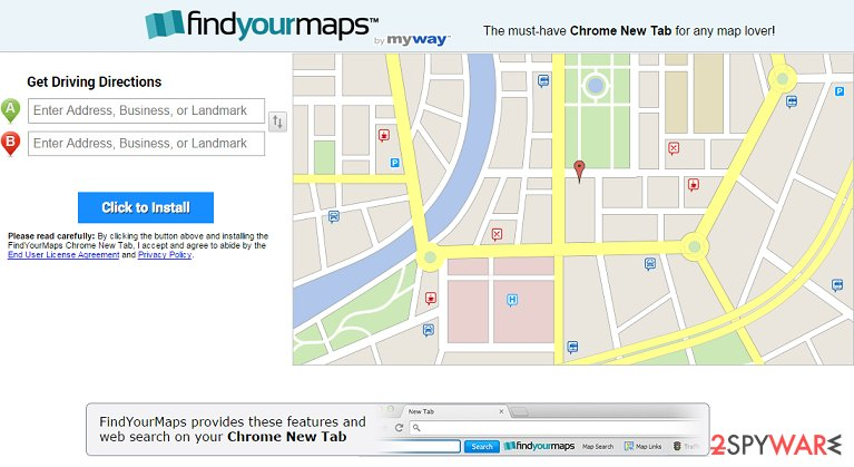 The example of FindYourMaps Toolbar