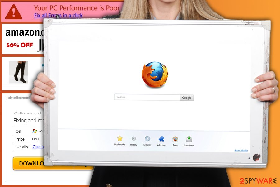 The image of Firefox redirect virus