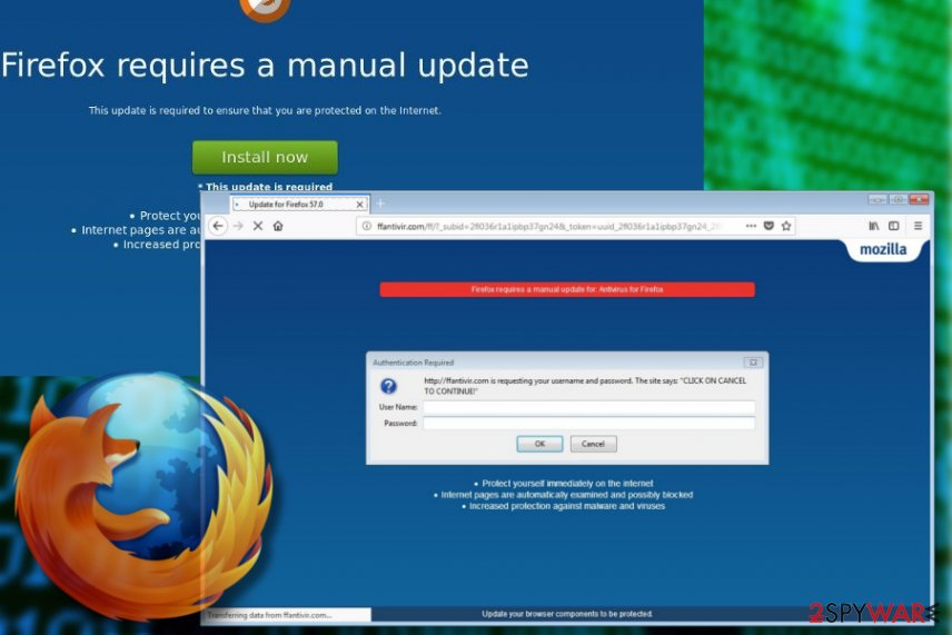"""Firefox requires a manual update"" scam picture"