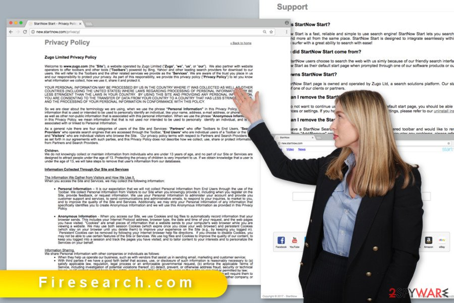 The illustration of Firesearch.com virus