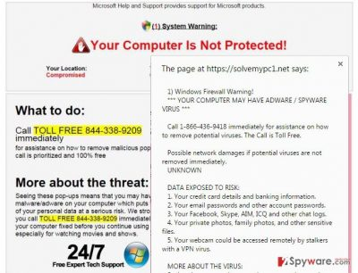"""The picture of the fake """"Firewall warning"""""""