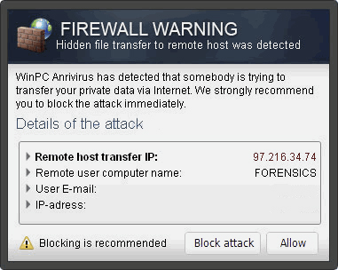 """Another version of  """"Firewall Warning"""" Pop up"""