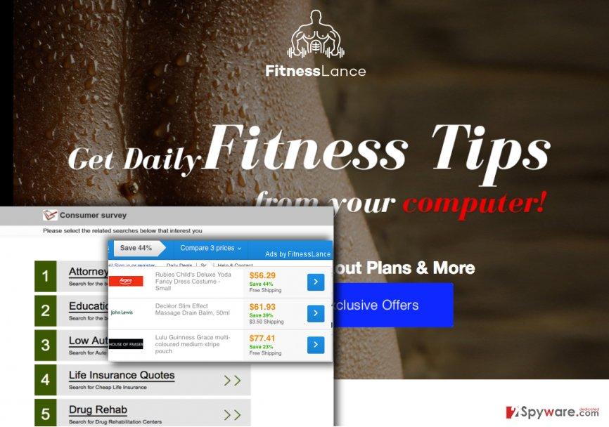 FitnessLance ads on screen