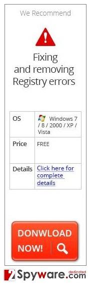 """""""Fixing and removing Registry errors"""" virus snapshot"""